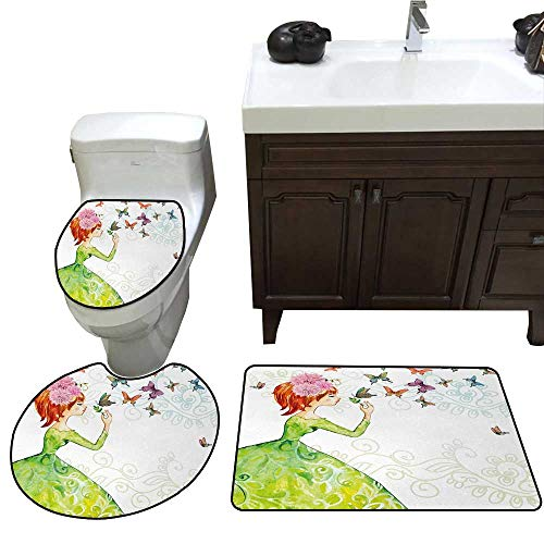 John Taylor Butterfly Bath Toilet mat Set Floral Lady in Green Dress with Leaf Ornaments Flower Pastel Butterfly Toilet Rug and mat Set Pink Orange -