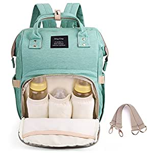 Diaper Backpack for Mommy, Waterproof Nappy Bag with Stroller Hooks Rucksack Lightweight/Large Capacity/Durable (Green)