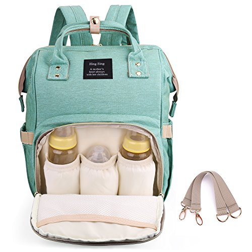 Diaper Backpack for Mommy, Waterproof Nappy Bag with Stroller Hooks Rucksack Lightweight/Large Capacity/Durable (Light-Green)