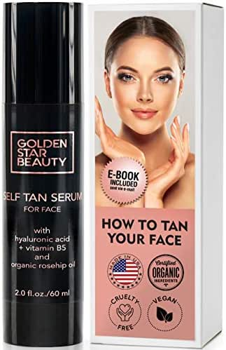 Self Tanner for Face – Facial Sunless Tanner w/Hyaluronic Acid and Organic Oils - Non Comedogenic Face Tanning serum w/Booklet For Natural Sunkissed Glow - 2.0 fl