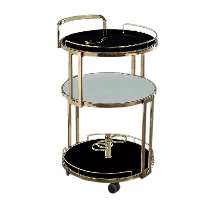 TIDLT Comedor Rolling Car, Carros De Almacenamiento, Encimera De Vidrio Templado, Restaurante, Sala De Estar, Hotel 52 X 83 Cm (Color : Champagne Gold ...