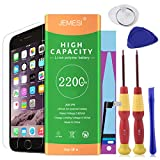 JEMESI Replacement Battery Model iphone 6 - New 0 Cycle 2200mAh High Capacity ,with Repair Tool kits Include Adhesive, Instructions and Screen Protector -[24 Months Warranty]