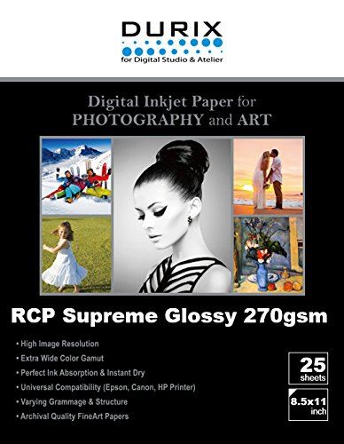 RCP Supreme Glossy 270gsm Digital Inkjet Paper for Photography and Art (8.5-x-11) by DURIX