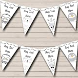 Cute Grey Animals Penguin Giraffe Owl Bear Personalized Childrens Party Bunting Flags Banner
