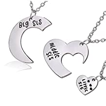 Colybecation 3pcs Family Jewelry Gift Big Sis Middle Sis Little Sis Love Heart Charm Pendant Necklace Set For Sisters