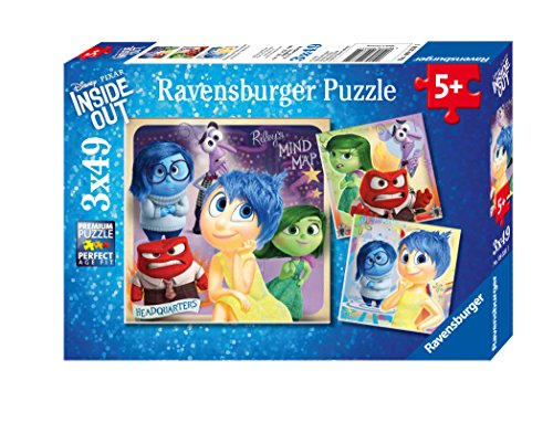 Ravensburger Disney Inside Out: Emotional Adventure 3 x 49 Piece Jigsaw Puzzle for Kids – Every Piece is Unique, Pieces Fit Together Perfectly
