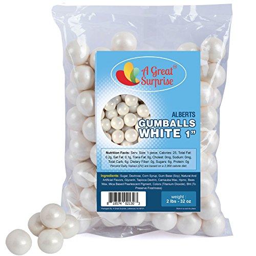 (Gumballs in Bulk - White Gumballs for Candy Buffet - Shimmer Gumballs 1 Inch - Bulk Candy 2 LB)