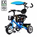 HotOne 023AK 4 In 1 Baby Children Detachable stroller Trike Classic Kids tricycle: Grows with your child(Blue)