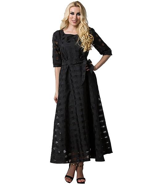 YAANCUN Mujer Elegante Maxi Pompa Vestido Fiesta Impresión de Encaje Patchwork Vestidos Mangas Largas con Cintura