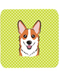 Access Caroline's Treasures BB1316FC Checkerboard Lime Green Corgi Foam Coaster (Set of 4), 3.5