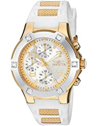 Invicta Womens BLU Quartz Gold-Tone and Silicone Casual Watch, Color:White (Model: 24192)