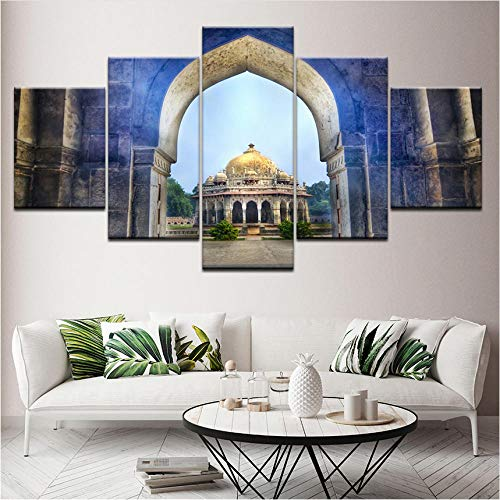 Alasijia Canvas Painting Isa Khan's Tomb Temple Delhi India 5 Pieces Wall Art Painting Modular Wallpapers Poster Print Home Decor-40CMx60/80/100CM