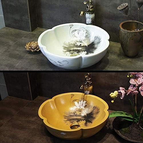 樹脂洗面台天然石楕円形埋め込み花セラミックアート洗面台シンクカウンタートップセラミック洗面台バスルームシンク(色:デザイン2のみシンク)