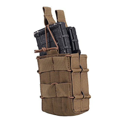 OneTigris Tactical MOLLE Open-Top Double Stacker Rifle M4 Mag Pouch (Coyote (System M4 Double Mag Pouch)