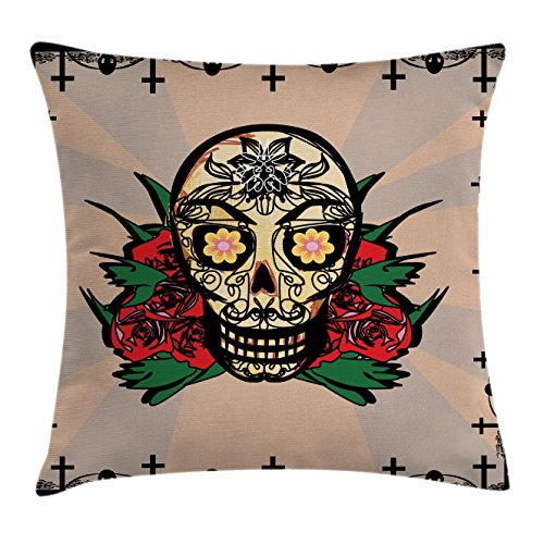 Mexican Decorations Throw Pillow Cushion Cover by Ambesonne, Sugar Skull with Red Rose and Cross Spooky Halloween Horror Mystic Art Theme, Decorative Square Accent Pillow Case, 18 X18 Inches, -