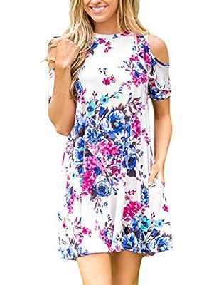 Sidefeel Women Cold Shoulder Short Sleeve Floral Print Mini Dress