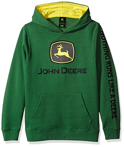 John Deere Big Boys' Fleece Hoody Pull Over, Green Trademark, M(10-12)