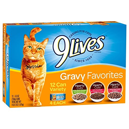 51vsuurQi3L - 9 Lives Pate Favorites Variety Pack Canned Cat Food, Pack of 12 Cans, 5.5 Ounce