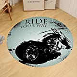 Gzhihine Custom round floor mat Vintage Retro Motorcycle Nostalgic Scooter in front of Vehicle Traffic Urban Picture Bedroom Living Room Dorm Red Umber