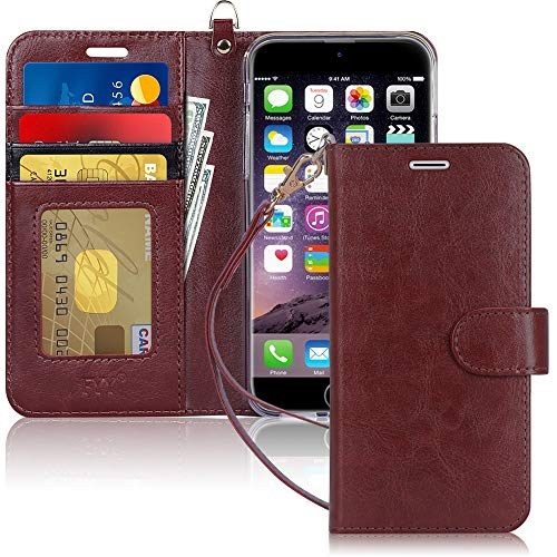 """FYY Case for iPhone 8 Plus/iPhone 7 Plus,[Kickstand Feature] Luxury PU Leather Wallet Case Flip Folio Cover with [Card Slots] [Wrist Strap] for Apple iPhone 8 Plus 2017/7 Plus 2016 (5.5"""") Dark Brown"""