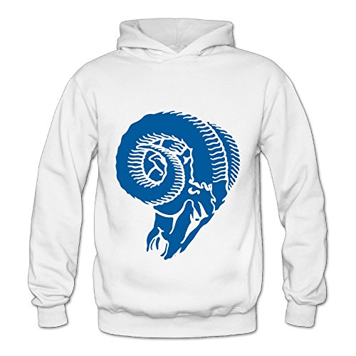 Lennakay Work Adult's St. louis rams Hooded Sweatshirt With No Pocket White For Woman SizeXXL