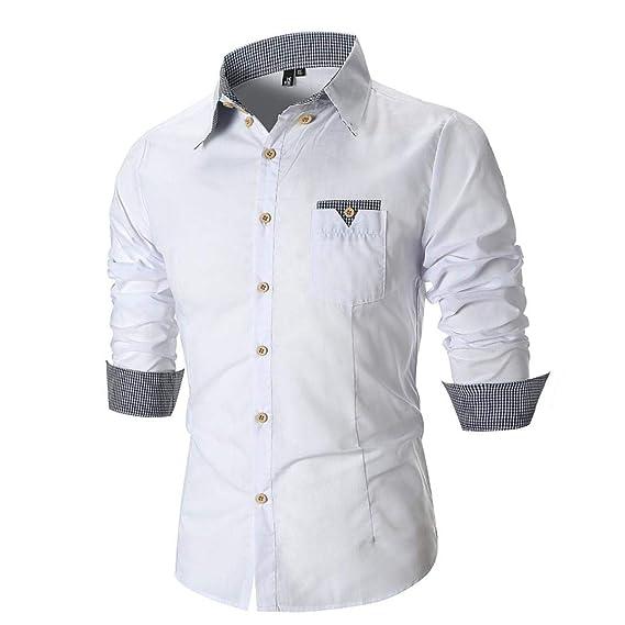 Resplend La Blusa Superior de la Camisa Escocesa de Manga Larga Delgada Ocasional de los Hombres de la Personalidad: Amazon.es: Ropa y accesorios