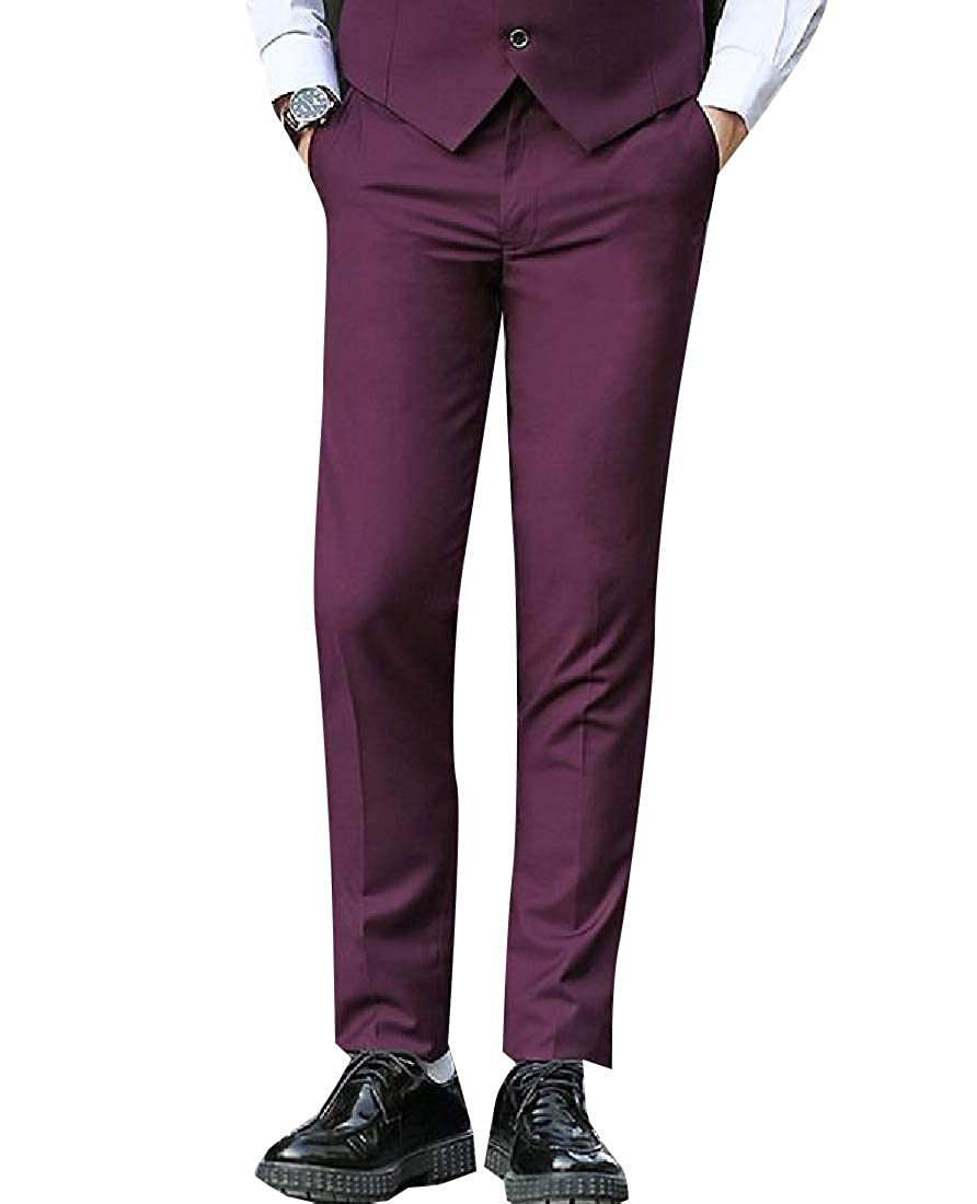 Andopa Men Non-Iron Formal British Style Straight Casual Plain-Front Pant
