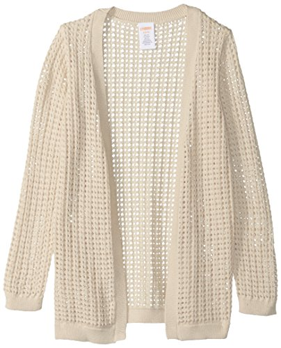 Gymboree Big Girls' Sleeve Open Front Long Cardigan, Tan Open Knit, - Sweater Cardigan Gymboree