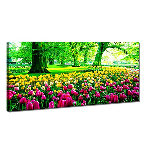 iKNOW FOTO Large Green Forest Tree Framed Canvas Painting Spring Picture Tulip Flowers Pic Artwork Print Wall Art Decor Posters for Home Decor Living Room Bedroom Office Decorations 40x20inch
