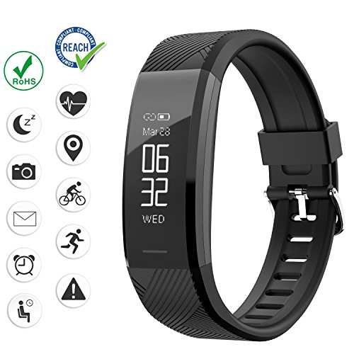 Abandship Fitness Tracker, Fitness Tracker Watch with Slim Touch Screen and Wristbands, Wearable Activity Tracker as Pedometer Sleep Monitor for Android and iOS (Black.)