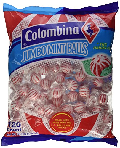 (Jumbo Red & White Peppermint Hard Candy Balls 120 Count Bag)