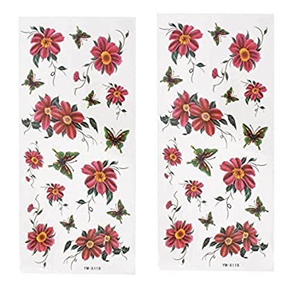 2 de la mariposa Verde Rojo impresos transferibles Tatuajes piezas ...