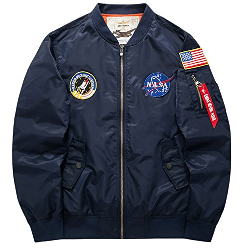 sandbank Men's USA Flag Lightweight MA-1 Flight Bomber Jacket Windbreaker(US XS =Asian tag L, Blue) ()