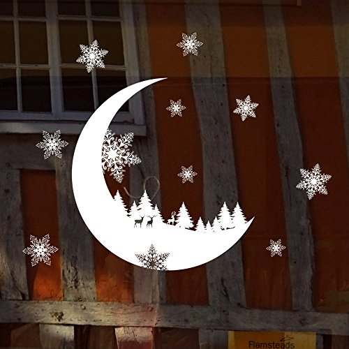 Christmas Snow Decoration Bedroom Xmas Deer Moon Hot Party Festival Wall Stickers Wallpaper (White, 25 * 35cm) -