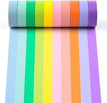 10-Pack Rainbow Washi Decorative Colored Masking Tape