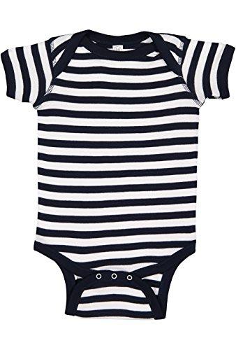Rabbit Skins Infant 100% Cotton Baby Rib Lap Shoulder Short Sleeve Bodysuit (Navy/White Stripe, 6 Months) ()