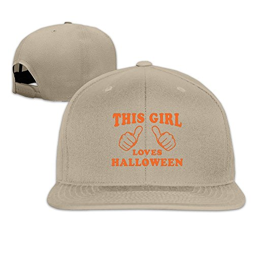 [Runy Custom This Girl Loves Halloween Adjustable Baseball Hat & Cap Natural] (Duke Halloween Costume)