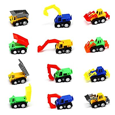 12 Pack Pull Back Vehicles, Assorted Construction Vehicles Dump Truck Toys for Toddlers Boys, Pull Back And Go Mini Car Kids Toy Play Set by Aosiley