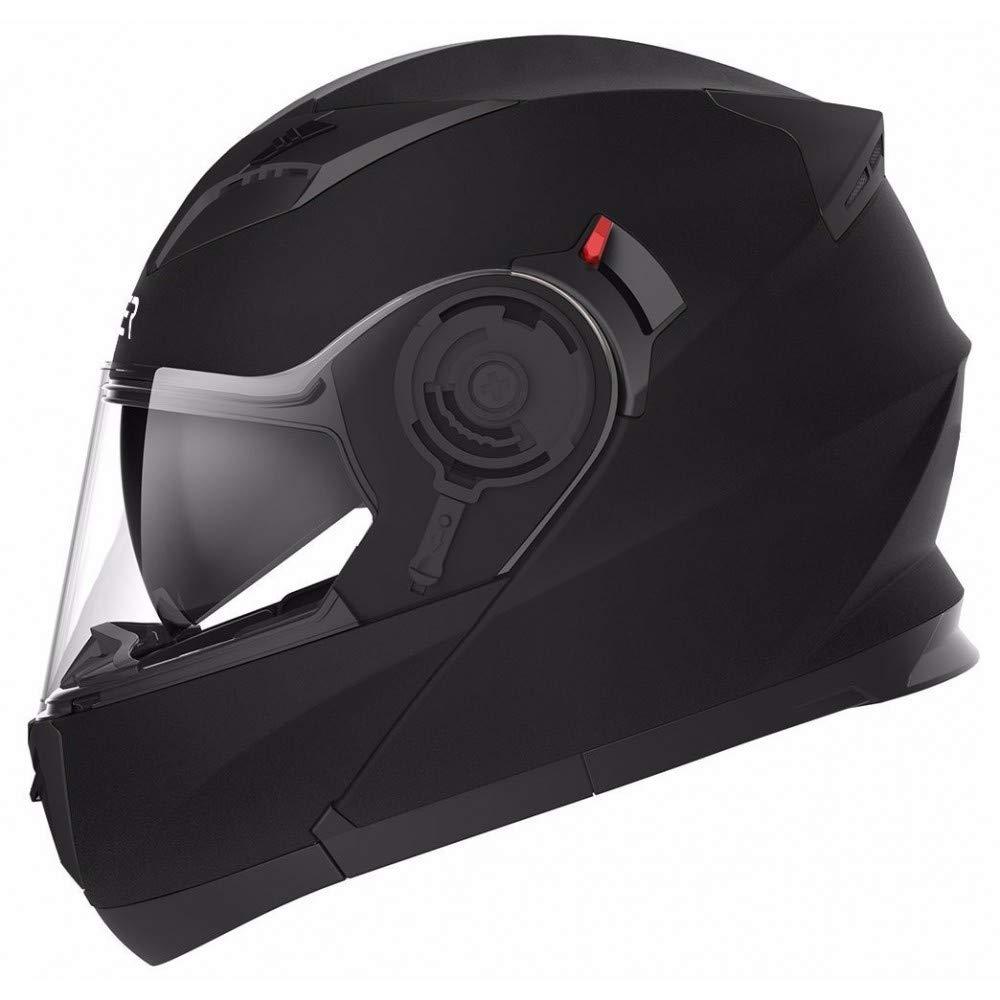 Casco modulare omologato per moto nero opaco con doppia visiera L interno sfoderabile e lavabile CRUIZER chiusura micrometrica cinturino