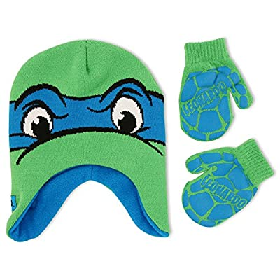 Nickelodeon Toddler Boys TMNT Leonardo Hat and Mitten Cold Weather Set, Age 2-5