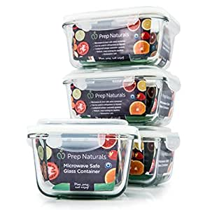 [Premium] Glass Meal Prep Containers [4-Pack] Microwave, Freezer & Oven safe - Food Storage with SmartestLock Lids by Prep Naturals