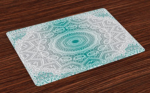 Ambesonne Grey and Teal Place Mats Set of 4, Mandala Ombre Geometry Occult Pattern with Flower Lines Display Artwork, Washable Fabric Placemats for Dining Room Kitchen Table Decor, Teal Grey