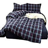 Plaid Velvet Flannel Duvet Cover 3 Pieces Grid Duvet Cover Set Queen/King Size - Luxury Duvet Cover with 2 Pillow Shams by HighBuy (Blue Grid, Queen)