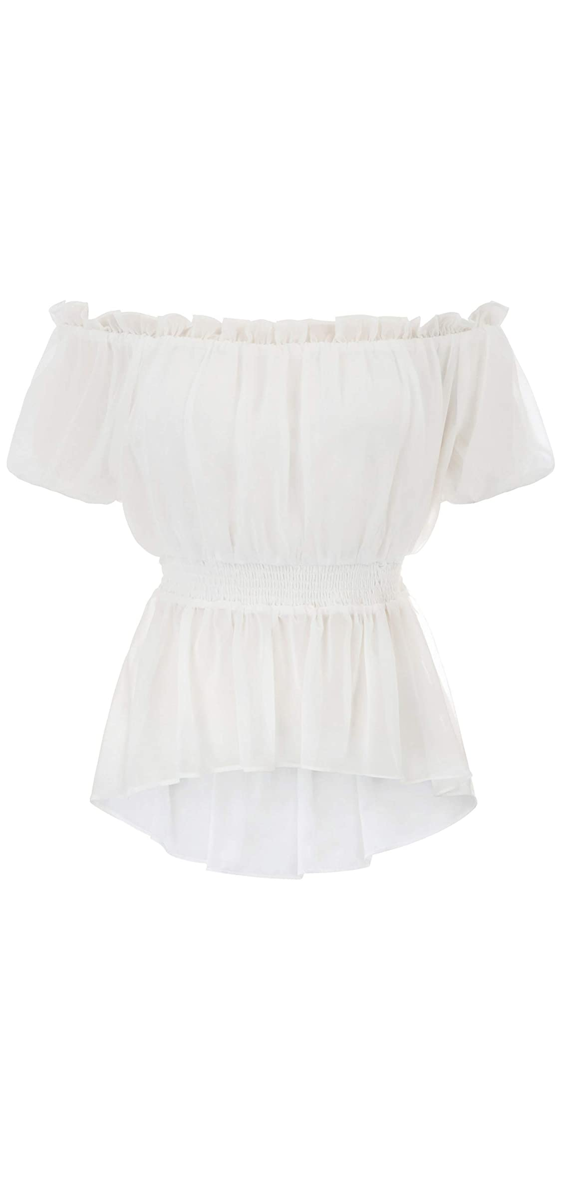 Womens Renaissance Shirt Short Sleeve Ruffled Off Shoulder Boho