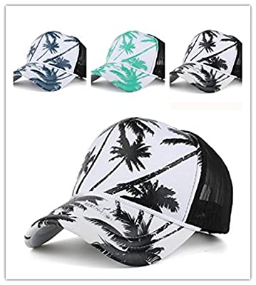 BCDshop Coconut Tree Print Baseball Cap Back Mesh Snapback Women Men Sport Hat
