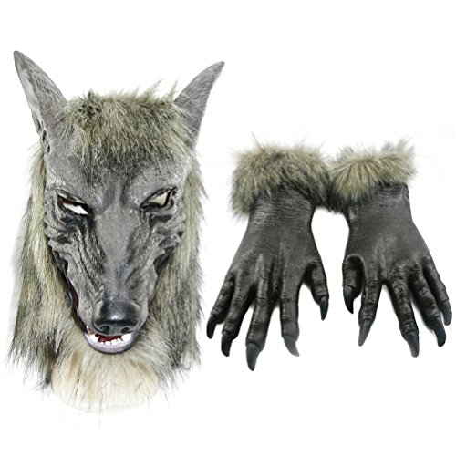 Odowalker Halloween Werewolf Costume for Women and Men Wolf Claws Gloves and Head Mask Gray Soft Plastic Wolf Men Cosplay (Both of Them)]()