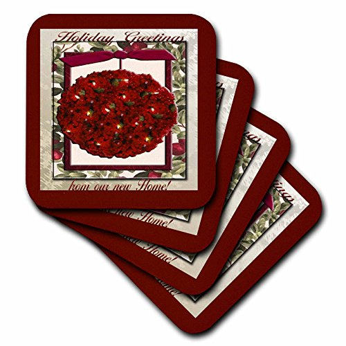 3dRose cst_34243_3 Cranberry Christmas Tree Ornament, Holiday Greetings Form Our New Home-Ceramic Tile Coasters, Set of 4