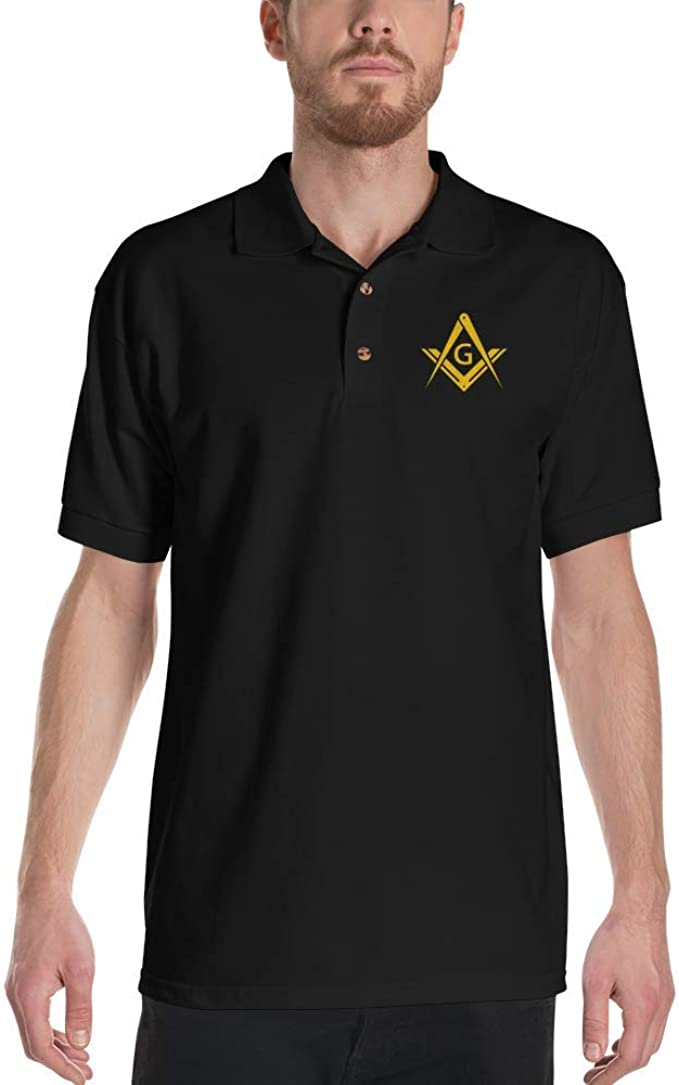 Masonic Past Master emblem with Lodge Info Custom Embroidered Polo Shirt