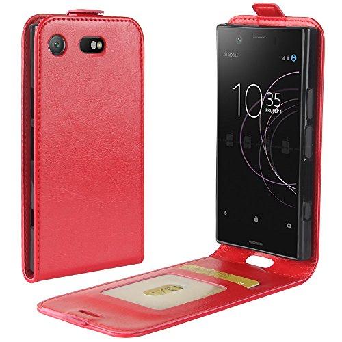 Para Sony Xperia XZ1 Compact Caso compacto de piel PU, arriba-abajo piel abierta PU Funda de piel con ranura para tarjeta y función de protección completa con cierre magnético Caja a prueba de golpes  rojo