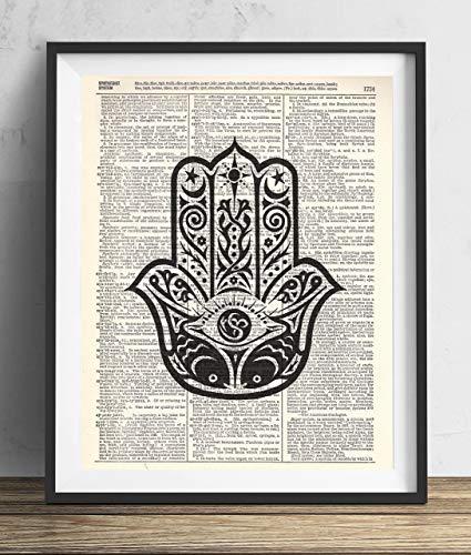 Buddha Palm Upcycled Vintage dictionary Art Print 8x10 (Antique Palm Frame Art Print)
